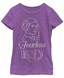Star Wars Big Girl's Princess Leia Fearless Outline Short Sleeve T-Shirt