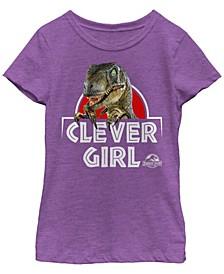 Jurassic Park Big Girl's Velociraptor Real Clever Short Sleeve T-Shirt