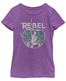Star Wars Big Girl's Rey BB-8 R2-D2 Group Shot Rebel Short Sleeve T-Shirt