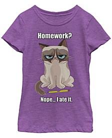 Grumpy Cat Big Girl's Ate My Homework Back To School Short Sleeve T-Shirt