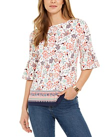 Printed Knit Ruffle-Sleeve Top, Created for Macy's