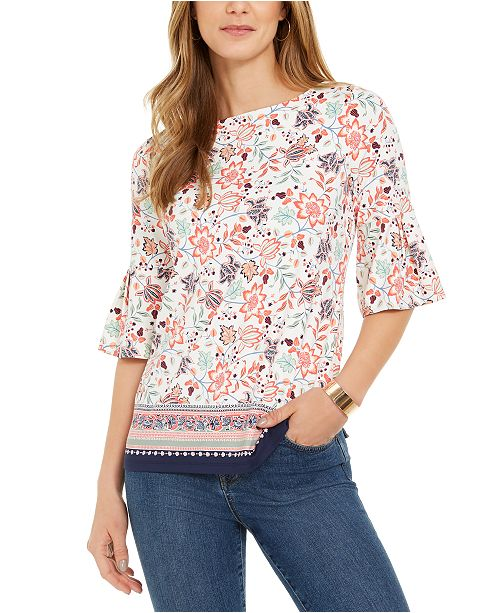 Charter Club Printed Knit Ruffle-Sleeve Top, Created for Macy's