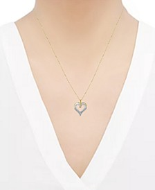 "Diamond Heart Pendant Necklace (1 ct. t.w.) in 14k Gold, 16"" + 2"" extender"