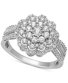 Diamond Flower Cluster Statement Ring (3/4 ct. t.w.) in 14k White Gold