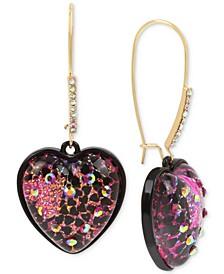 Two-Tone Crystal Glitter Heart Drop Earrings