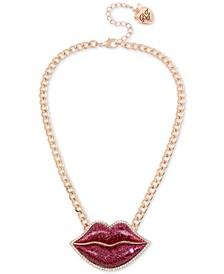 "Rose Gold-Tone Crystal Glitter Lips Pendant Necklace, 16"" + 3"" extender"