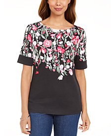 Karen Scott Floral-Print Boatneck T-Shirt, Created for Macy's