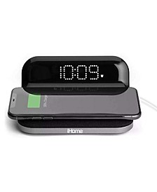 Compact Alarm Clock with Qi Wireless Charging and USB Charging