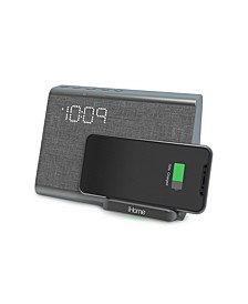 Bluetooth Dual Alarm Clock with Wireless Charging, Speakerphone and USB Charging Port