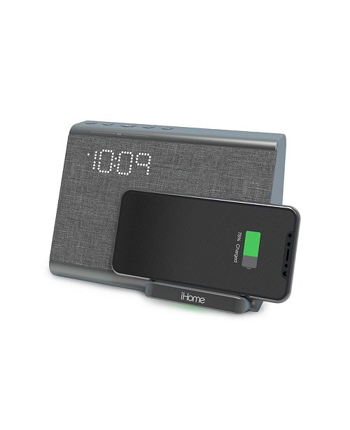 iHome Bluetooth Dual Alarm Clock with Wireless Charging, Speakerphone and USB Charging Port