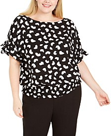 Plus Size Laced Grommet-Sleeve Kimono Top