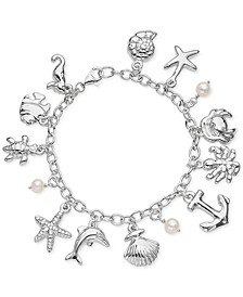 Imitation Pearl Sea-Life Charm Bracelet in Sterling Silver, Created for Macy's