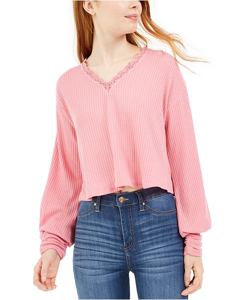 Love, Fire by Topson Juniors' Lace Trim Thermal Top