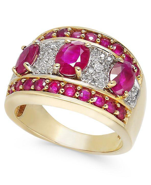 Macy's Certified Ruby (3-1/5 ct. t.w.) & Diamond (1/4 ct. t.w.) Statement Ring in 14k Gold