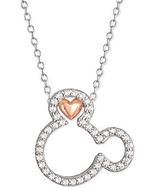 "Cubic Zirconia Mickey Mouse Heart 18"" Pendant Necklace in Sterling Silver & 18k Rose Gold-Plate"
