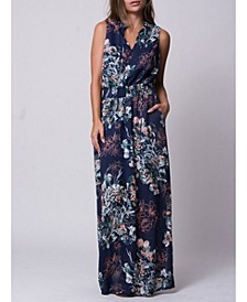 Floral Print Tie Neck Baja Maxi Dress