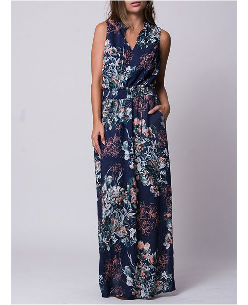 Wanderlux Floral Print Tie Neck Baja Maxi Dress