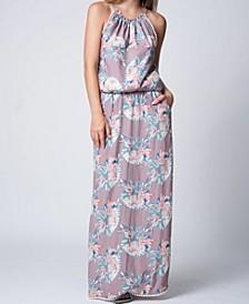 Tie Dye Print Halter Neck Elastic Waist Maxi Dress
