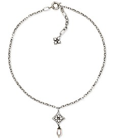 "Silver-Tone Caged Floret & Freshwater Pearl (10mm) Pendant Necklace, 18"" + 2"" extender"
