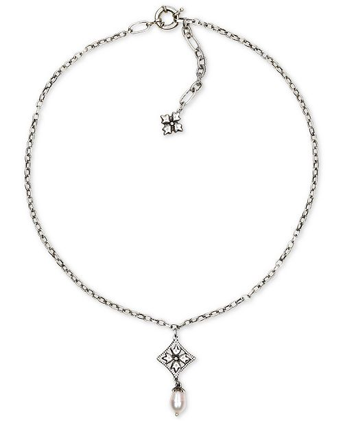 """Patricia Nash Silver-Tone Caged Floret & Freshwater Pearl (10mm) Pendant Necklace, 18"""" + 2"""" extender"""