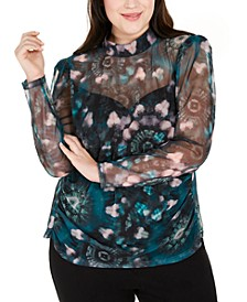 INC Plus Size Printed Mesh Mockneck Top, Created For Macy's