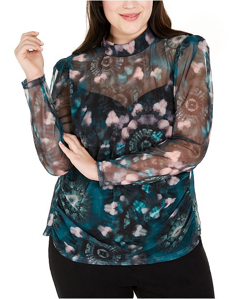 INC International Concepts INC Plus Size Printed Mesh Mockneck Top, Created for Macy's