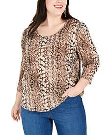 INC Plus Size Printed 3/4-Sleeve Top, Created for Macy's