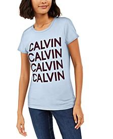 Crew-Neck Velvet-Graphic T-Shirt