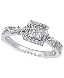 Diamond Princess Halo Engagment Ring (3/8 ct. t.w.) in 10k White & Rose Gold