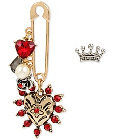 Two-Tone Crystal Imitation Pearl Safety Pin Heart & Crown Mismatch Earrings