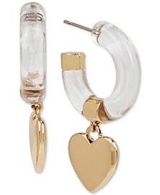"""Medium Gold-Tone Heart Charm Open Hoop Earrings 1-3/4"""""""
