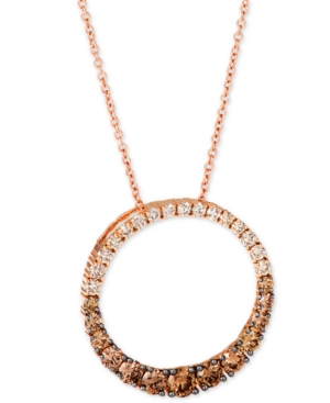 """Chocolate Diamond Ombre Circle 18"""" Adjustable Pendant Necklace (1-1/5 ct. t.w.) in 14k Rose Gold"""