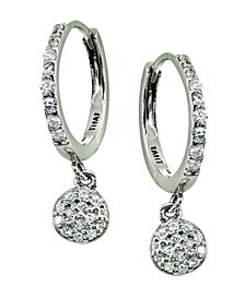 Pavé Cubic Zirconia Disc Charm Drop Huggie Hoop Earring in Sterling Silver