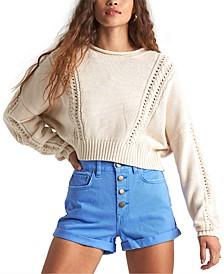 Juniors' Night Falls Cropped Sweater
