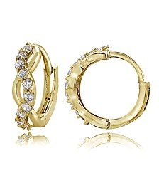 Cubic Zirconia Wrap Huggie Hoop Earrings in 18k Gold Plated Sterling Silver