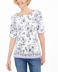 Floral-Print Elbow-Sleeve Top, Created for Macy's
