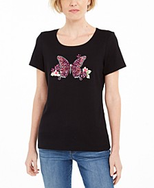 Petite Cotton Rhinestone Butterfly Top, Created for Macy's