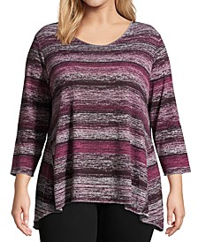 Plus Size Metallic Striped Tunic