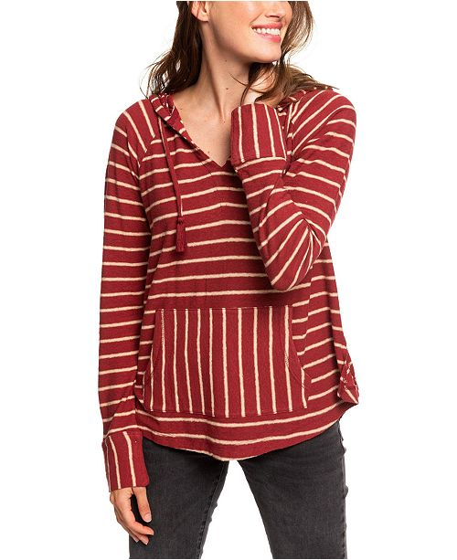 Roxy Juniors' Long Night Striped Hooded Top