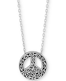 "Filigree Peace Sign Pendant Necklace in Sterling Silver, 18"" + 2"" extender"
