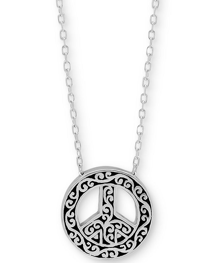 """Lois Hill - Filigree Peace Sign Pendant Necklace in Sterling Silver, 18"""" + 2"""" extender"""