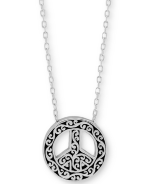 Filigree Peace Sign Pendant Necklace in Sterling Silver