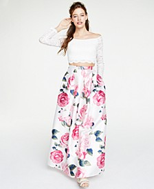 Juniors' 2-Pc. Off-The-Shoulder Lace & Floral Gown, Created for Macy's