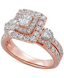 Diamond Octagon Halo Engagement Ring (2 ct. t.w.) in 14k Rose Gold