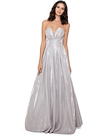 Metallic Illusion-Neck Ball Gown