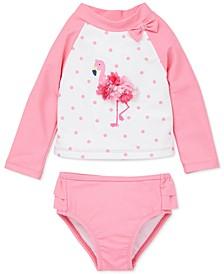 Baby Girls 2-Pc. Dot-Print Flamingo Rash Guard Swimsuit