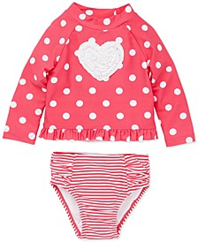 Baby Girls 2-Pc. Dot-Print Heart Rash Guard Swimsuit