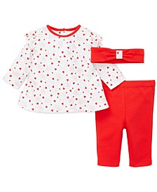 Baby Girls 3-Pc. Cotton Headband, Heart-Print Top & Pants Set