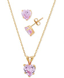 2-Pc. Set Lab-Created Pink Sapphire Heart Pendant Necklace & Matching Stud Earrings (3-1/6 ct. t.w.) in 10k Gold