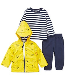 Baby Boys 3-Pc. Hooded Sailboat-Print Jacket, Striped Top & Jogger Pants Set